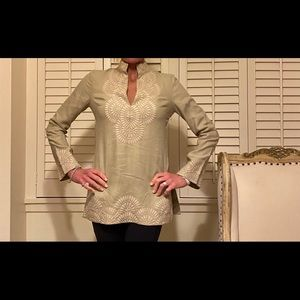 Tory Burch embroidered linen tunic top